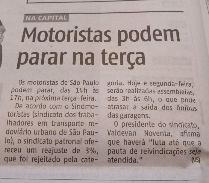 AGORA SP: Motoristas podem parar, afirma Valdevan Noventa