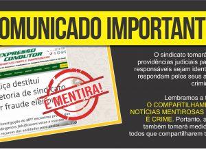 """Valdevan Noventa e sindicato processarão responsáveis por """"fake news"""""""
